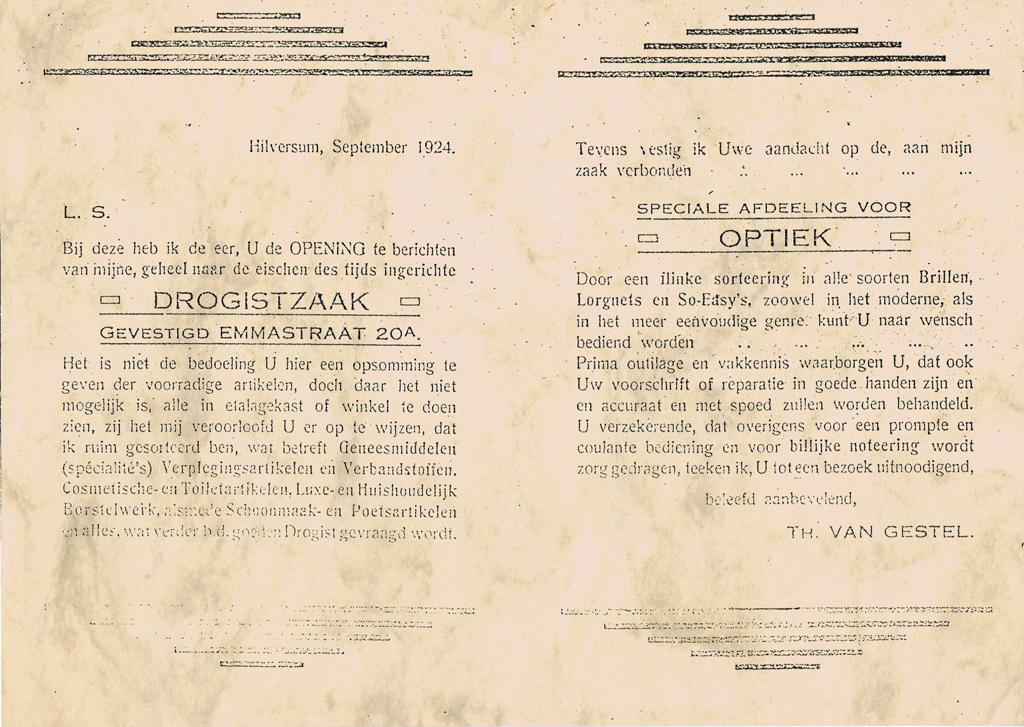 1924 Bericht opening drogistzaak en optiek