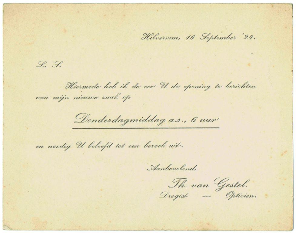 Uitnodiging Opening 1924